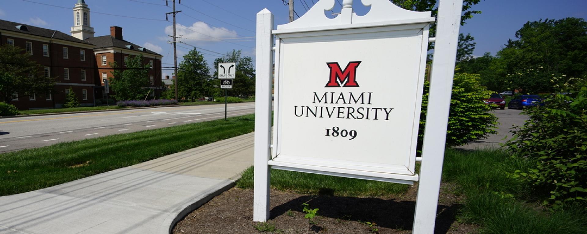 Front view of Miami University Gateways