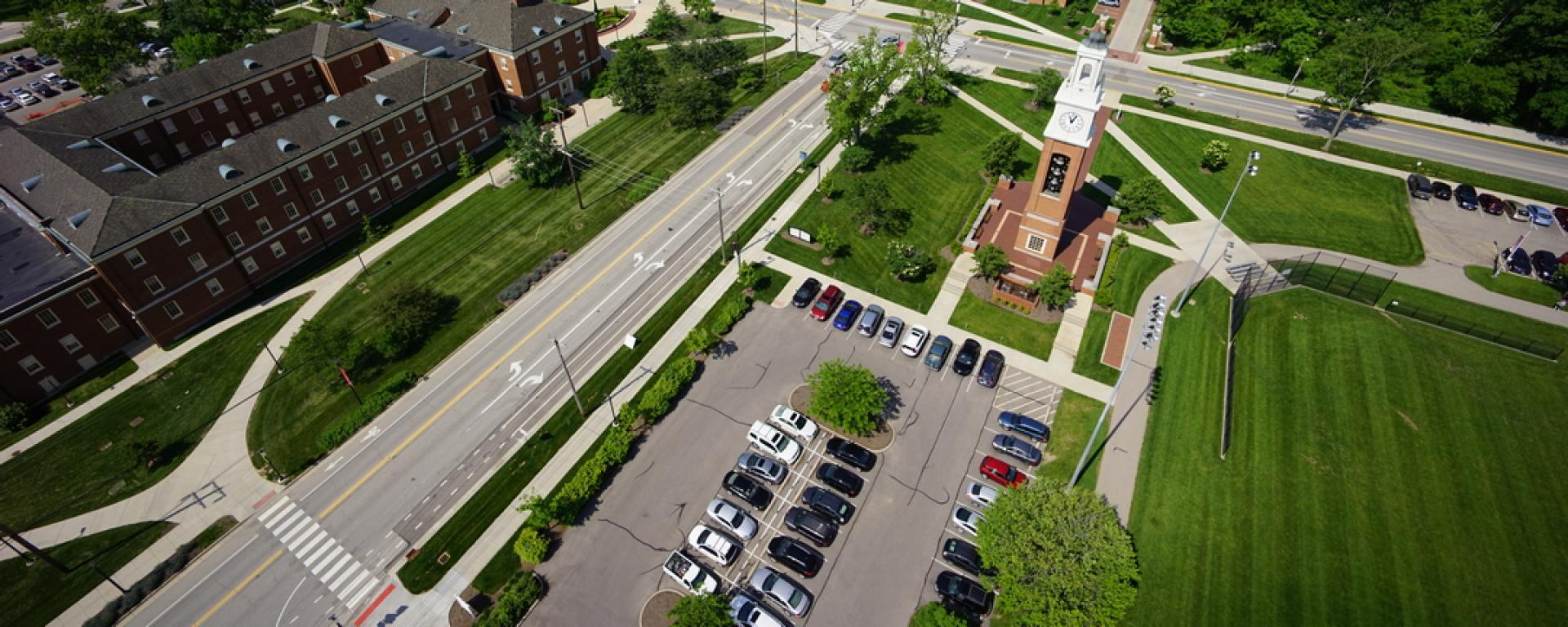 Aerial view of Miami University Gateways
