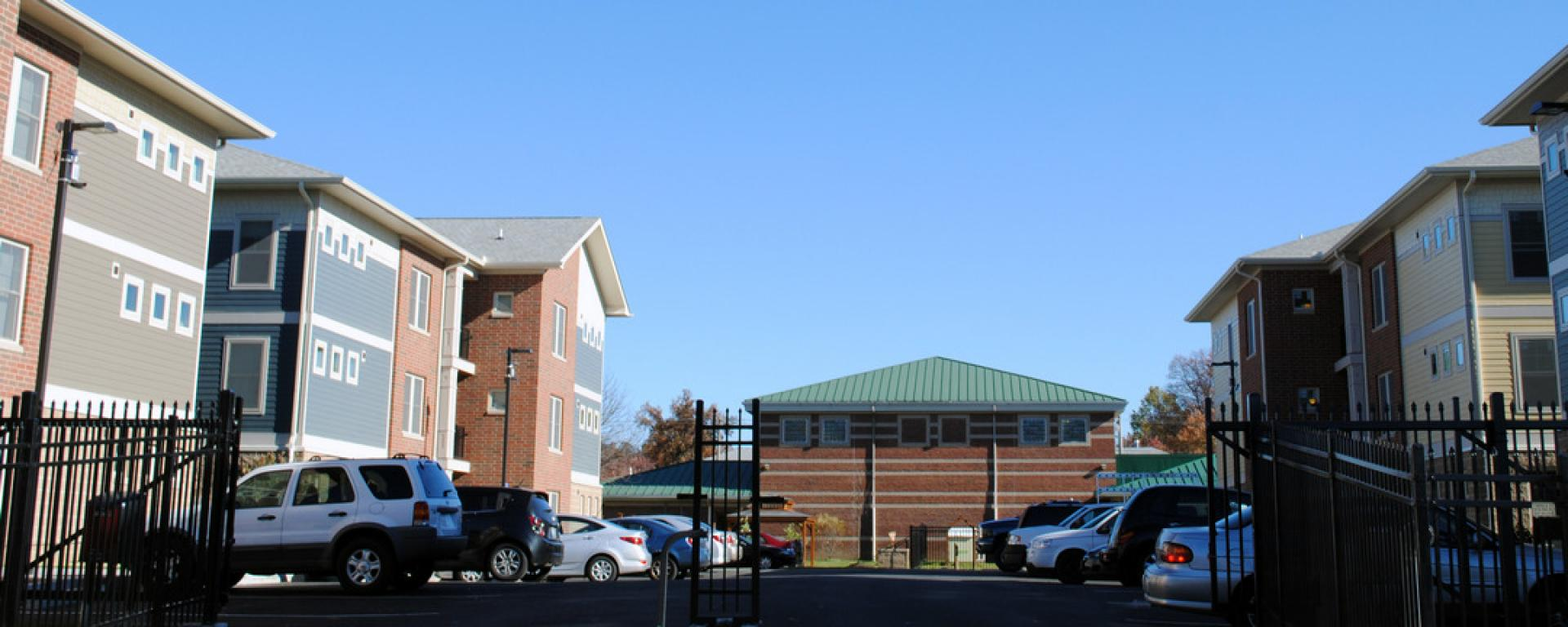Parking lot view of Scholar House