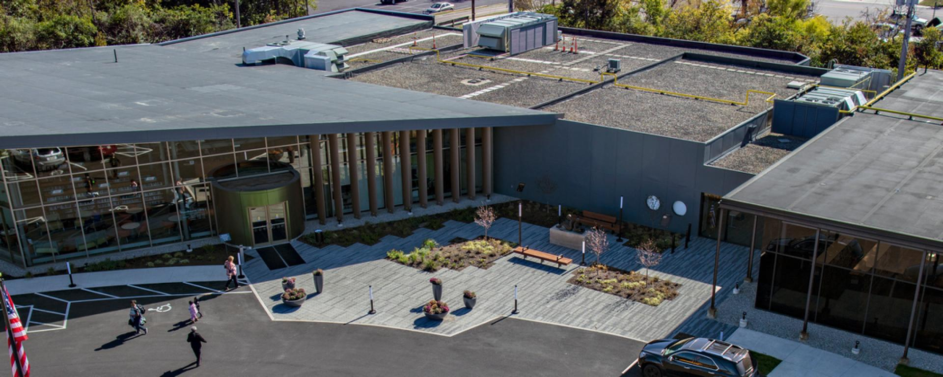 Aerial view of front entrance of Woodbourne Library