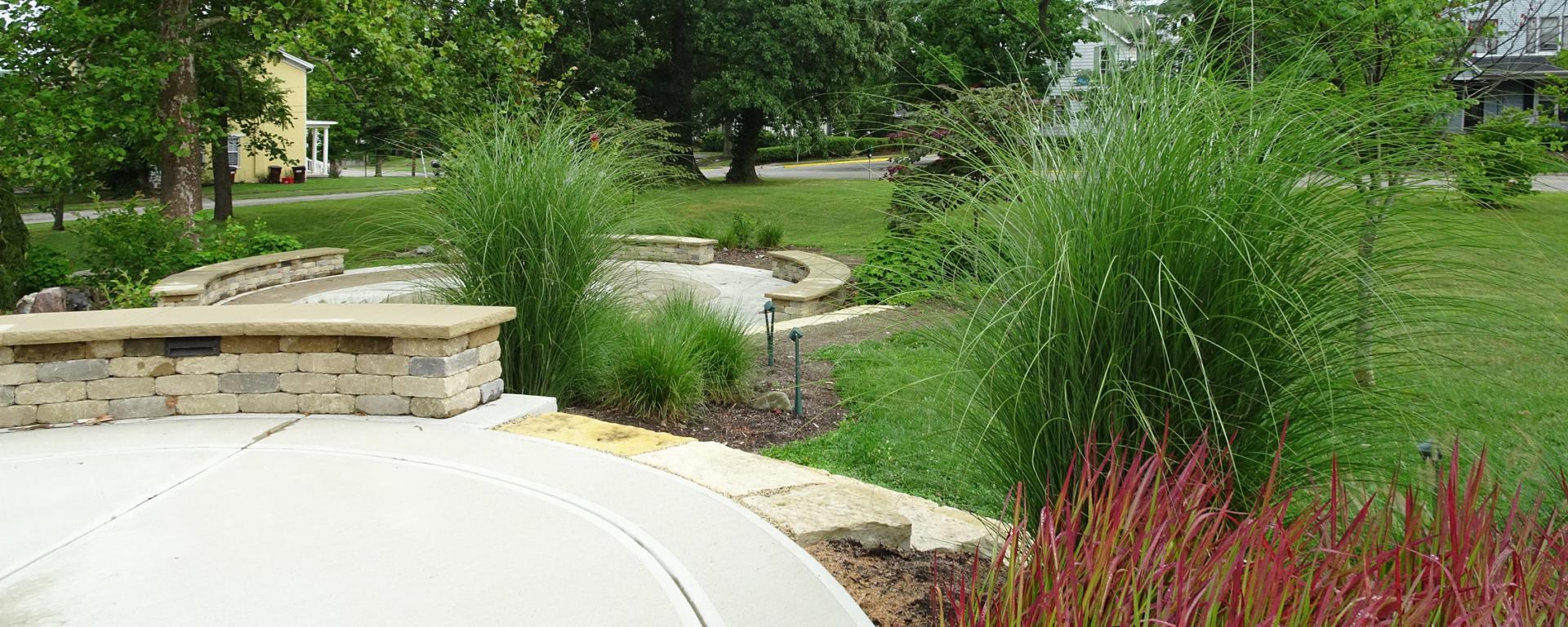 circular concrete areas in a park